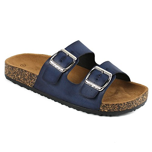 Women's Casual Buckle Straps Sandals Flip Flop Platform Footbed (7.5, Navy)