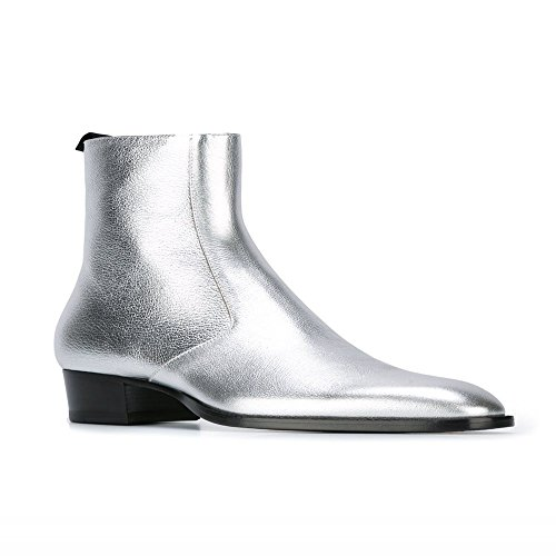 Mens Leather Silver Side Zipper Pointed Toe Ankle Boots High Top Chelsea Party Outdoor Shoes