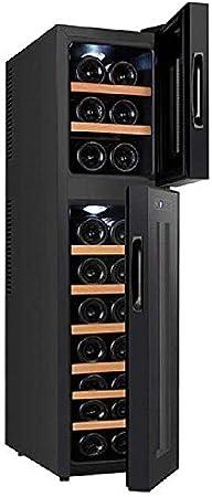 Enfriador de Vino para el hogar, Funcionamiento silencioso Termoeléctrico Independiente Pequeña Temperatura Constante 18 Almacenamiento de Vino electrónico de Doble Temperatura