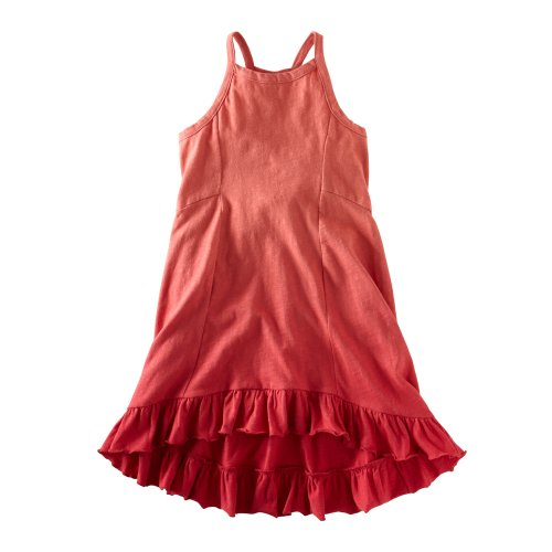 Tea Collection Little Girls' Flowy Dip Dye Dress, Coral Pink, 4