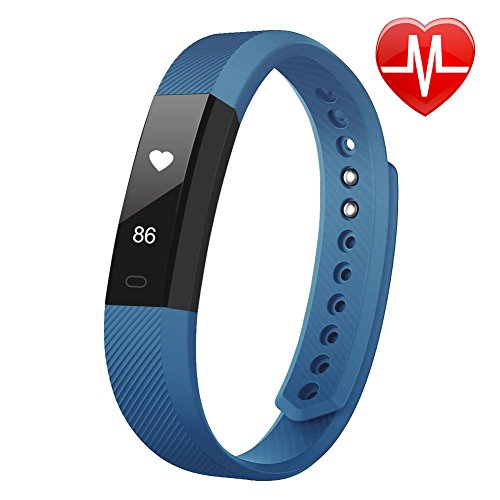 Fitness Tracker, LETSCOM Fitness Tracker Watch with Heart Rate Monitor,Slim Touch Screen and Wristbands, Wearable Waterproof Activity Tracker Pedometer,Green for Android and iOS, Blue