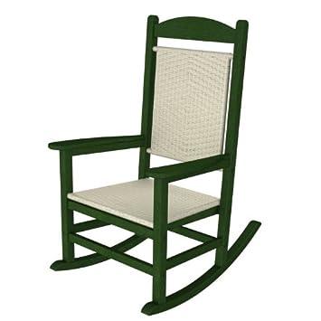 Polywood Rfgrwl Rocking Chairs Green Frame White Loom