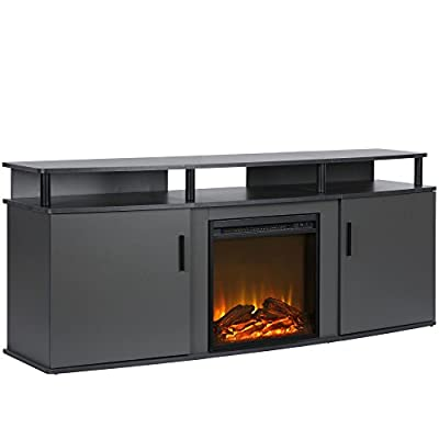 Ameriwood Home 1766496COM Carson Electric Fireplace TV Console, Gray