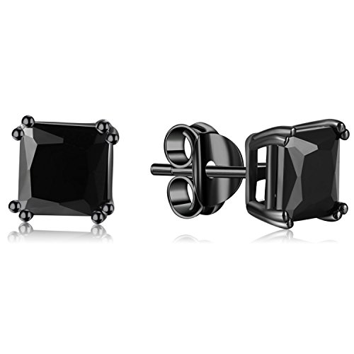 Lanroque Black Plated Sterling Silver and Black Princess Cut CZ Stud Earrings (6mm)