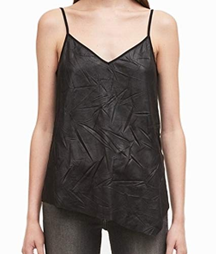 Calvin Klein Jeans Womens Asymmetrical Crinkled Tank Top Black XL