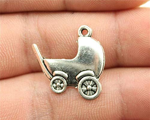 10 Baby Carriage Charms, Antique Silver Tone (1E-170)