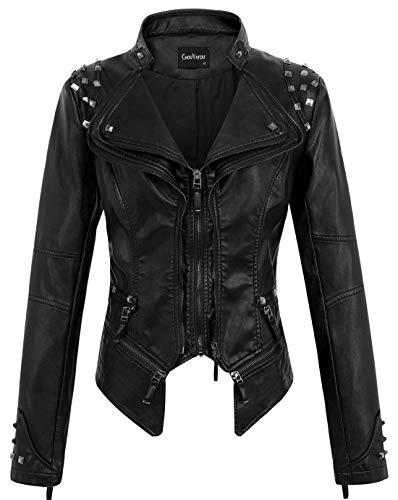 chouyatou Women's Fashion Studded Perfectly Shaping Faux Leather Biker Jacket (XX-Large, Black) (Womens Faux Leather Bomber Jacket With Hood)