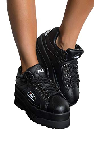 Fila Trailblazer Wedge Black Platform Shoes, Black, 8 -