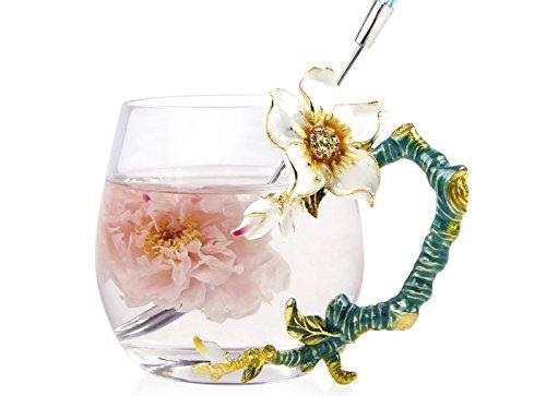 Creative Handmade Enamel Home Decration Enamel Flower Crystal Glass Coffee Tea Water Cup (32CL, Apricot Flower)