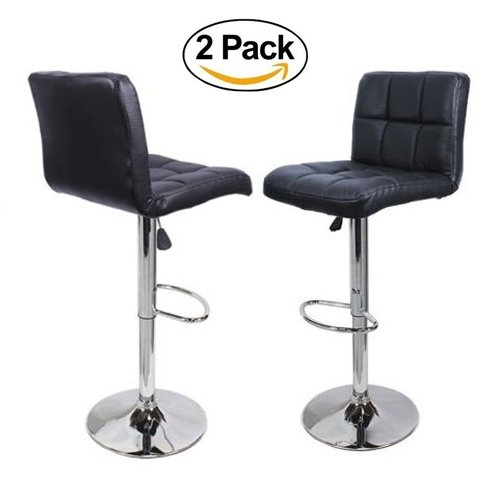 FCH Set of 2 Square PU Leather Barstools Height Adjustable from 21 1/2-30 360°Swivel Bar Stools with Large Paded Seat/Backrest/Footrest for Kitchen, Home, Office - Island Height Long Chair Counter