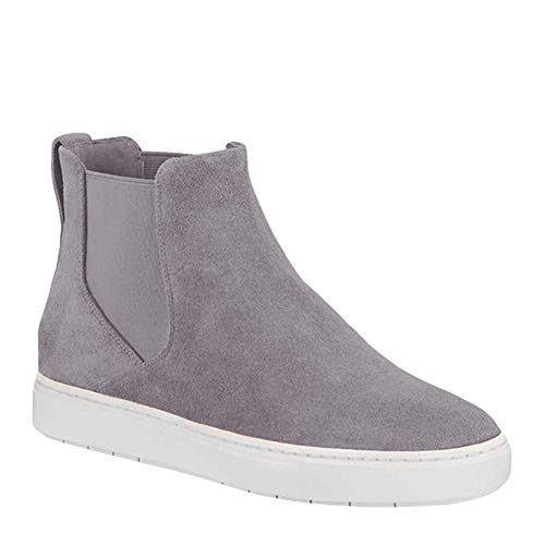 (Coutgo Women's Heel Platform Sneaker Faux Suede Wedges Zipper Ankle Booties High Top Sports Shoes (6 B(M) US, 1-grey))
