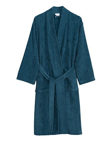 TowelSelections Men's Robe, Turkish Cotton Terry Kimono Bathrobe Large/X-Large Bluesteel by TowelSelections