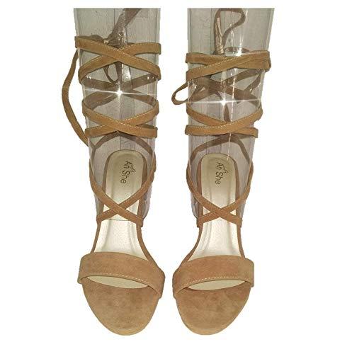 51fb8ba0684 AnShe Girls Women s Velvet Leather Peep Toe   4 inch Block Heel Lace up  Fashion