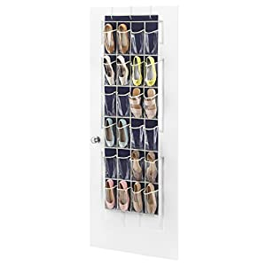 "Over the Door Shoe Bag –24 Pockets – Smart Linen Colored Fabric – Fit's on 2"" door – Perfect Hanging Shoe Organizer – Home Organization Solution - Durable Design – by Whitmor"