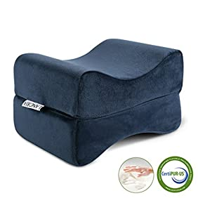 LANGRIA Foldable Knee Memory Foam Spacer Leg Pillow, Multi-use Rest Leg, Antibacterial Design, for Leg, Back, Hip Pain, Removable Cover, CertiPUR-US Certified, (9.8 x 5.9 x 7.0 inches) Navy Blue