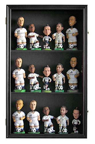 Bobble Head Display Case - Bobble Head Wobbler Nodder Funko Pop Bobblehead Display Case Wall Curio Cabinet, UV Protection, (Black)