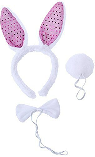 [Bunny Ears with Headband, Bow Tie, and Tail Accessories for Kids - 11 x 1 x 5 inches] (Best Nerd Girl Halloween Costume)