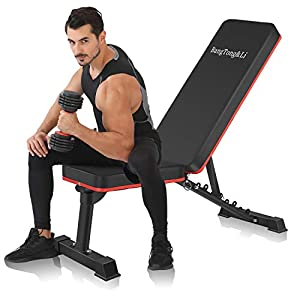 BangTong&Li Adjustable Bench,Utility Weight Bench for Full Body Workout- Multi-Purpose Foldable