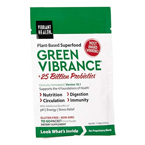 Vibrant Health, Green Vibrance, Plant-Based Superfood Powder, 25 Billion Probiotics Per Sample, Vegetarian and Gluten Free, 1 Serving