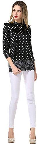 Blcswan Women's Terylene Polka Dot Lace Hem Shirt Black Size US 4