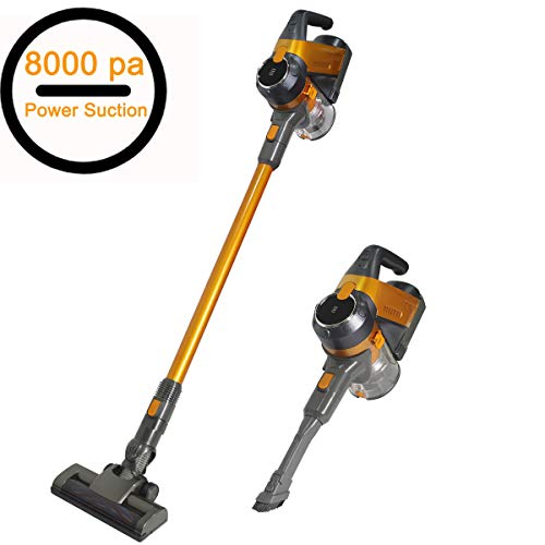 - SU-VAC Gold 130W Brush Motor Cordless Vacuum, 2 in 1 Vacuum Cleaner 8000PA High Power, Cordless Stick Handheld Vacuum with 22.2V/2200mAh Detachable Longer-Lasting Battery & Wall-Mount