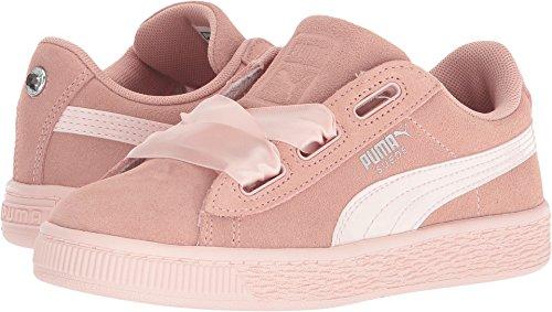 PUMA Girls' Suede Heart Jewel Sneaker, Peach Beige-Pearl, 1 M US Little Kid -