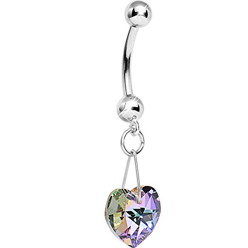 (Body Candy 14K White Gold Vitrail Pink Heart Belly Ring Created with Swarovski Crystals)
