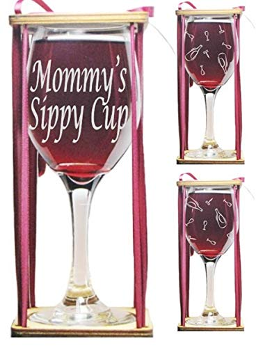 Mommy's Sippy Cup Stemmed Wine Glass with Charm and Presentation Packaging