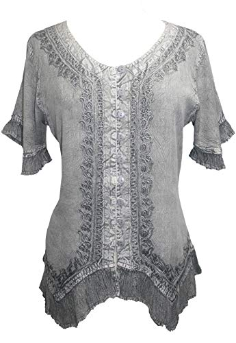 Agan Traders 305 B Medieval Bohemian Embroidered Button Down Shirt Blouse (XL/1X, Silver Gray)]()