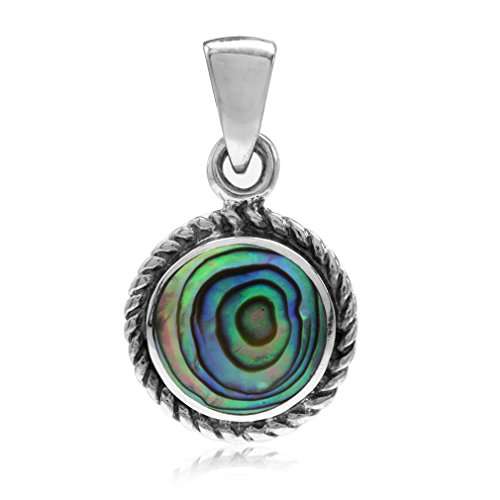 Abalone/Paua Shell Inlay 925 Sterling Silver w/Antique Finish Rope Solitaire (Paua Shell Round Pendant)