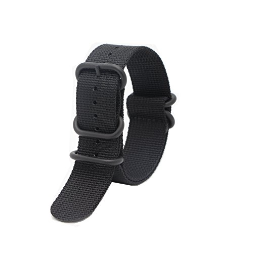 (Ritche 18mm 20mm 22mm NATO Strap with Black Heavy Buckle Watch Band (24mm, Black) )