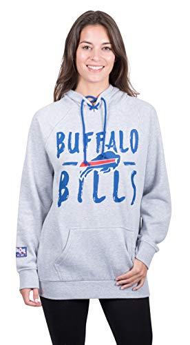 NFL Buffalo Bills Women's Fleece Hoodie Pullover Sweatshirt Tie Neck, Medium, Heather Gray