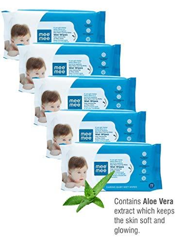 Mee Mee Baby Gentle Wet Wipes ((72 Pcs,Pack of 05), Aloe Vera Wet Wipes)