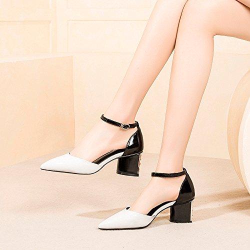 DKFJKI Sandales pour Femmes Talons Hauts en Cuir Chaussures de Mariage Pointues Bouclées Nuptiales Chaussures de Fête white q7kDpFn8