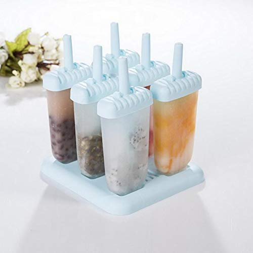 ice Cream Homemade Popsicle Molds Set 6 Ice Pop Maker Food Grade Frozen Ice Popsicle Maker BPA Free Ice Cream Molds with Comfortable and easy use classicEasy ice Cream Mini Ice Cream Bar Mold