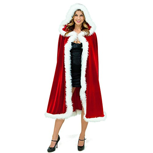 [MasiMiele Women's Christmas Cloak Deluxe Velet Mrs Santa Hooded Cape Costume (1m/39.4inches)] (Halloween Costumes Ideas For Newborns)