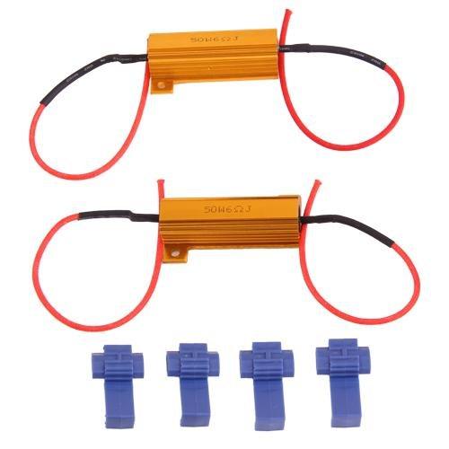 Ecloud ShopUS 2 pieces 2 X LED Turn Signal Load Resistor Blinker Fix 50W 6ohm
