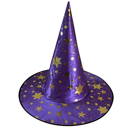 baskuwish Halloween Witch Hats Costumes for Kids - Varied Designs Cosplay Wicked Witch Accessory Adult One Size Purple (Costume Doormat)