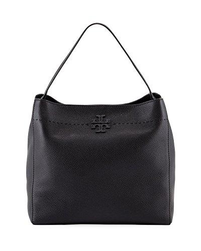 Tory Burch McGraw Pebbled Leather Hobo Bag (Black)