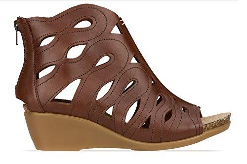 Brunt Ankelen Høyt Lær Zip Womens Wedges Sandaler Plattform