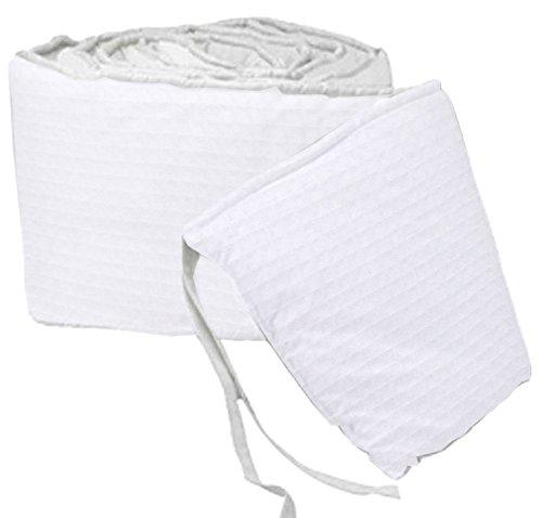 Babydoll Pastel Pique Round Crib Bumper, White ()