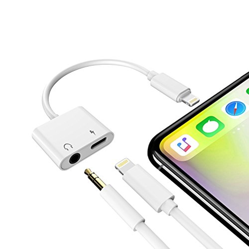 iPhone Headphone Jack Adapter, Micar 3.5 mm Audio+Charge, Lightning to 3.5mm Aux Headphone Jack Adapter with Lightning Port for iPhone X, iPhone 8, 8 Plus , iPhone 7, 7 Plus Not Support Phone Call
