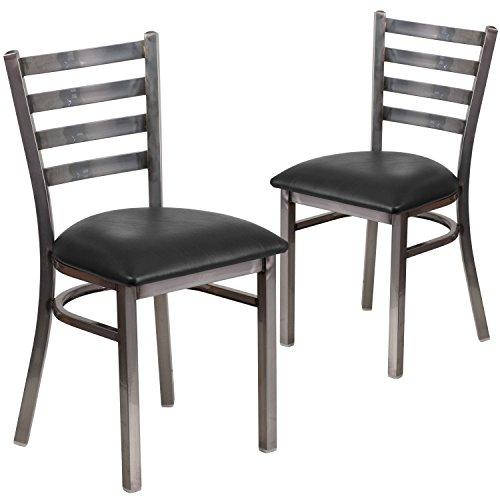 Flash Furniture 2 Pk. HERCULES Series Clear Coated Ladder Back Metal Restaurant Chair - Black Vinyl Seat