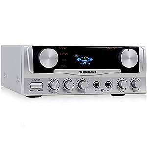 Skytronic Amplificador karaoke compacto con calidad de sonido (potencia de 400W, 2 entradas micrófono, efecto eco, ecualizador, sonido, hifi, CD, MP3, dimensiones compactas)