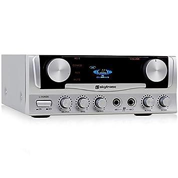 Skytronic Amplificador karaoke compacto con calidad de sonido (potencia de 400W, 2 entradas micrófono