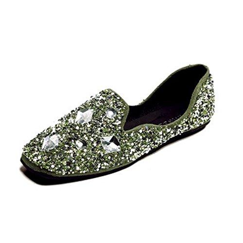 Giy Womens Mode Rhinestone Loafers Fyrkantig Tå Slip-on Glitter Klassiska Ledig Klädsel Oxford Loafer Sko Grön