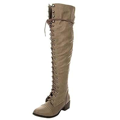 Breckelles Women's Alabama-12 Knee High Riding Boots,Premium Beige (6)