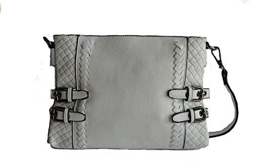 Belted Shopper Handbag (Beige belted buckle woven cross body shopper satchel fashion purse)