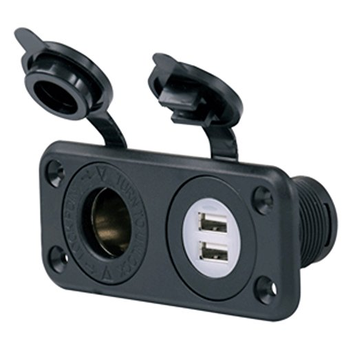 Marinco SeaLink® Deluxe Dual USB Charger & 12V Receptacle Marine , Boating (Deluxe 12 Volt Receptacle)