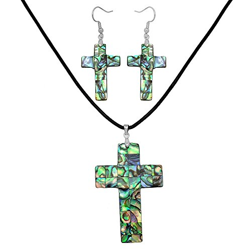 Falari Green Abalone Shell Necklace Earring Set (Cross) S0106